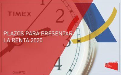 Plazos para presentar la Renta 2020