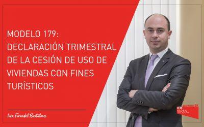 Modelo 179: Declaración trimestral de la cesión de uso de viviendas con fines turísticos
