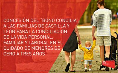 Concesión delBono Conciliaa familias de Castilla y León con menores de cero a tres años