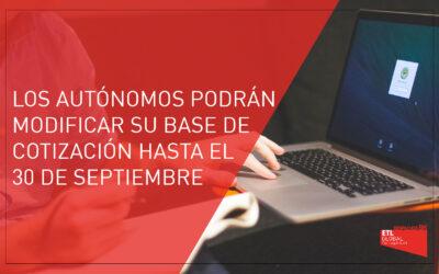 Los autónomos podrán modificar su base de cotización hasta el 30 de septiembre