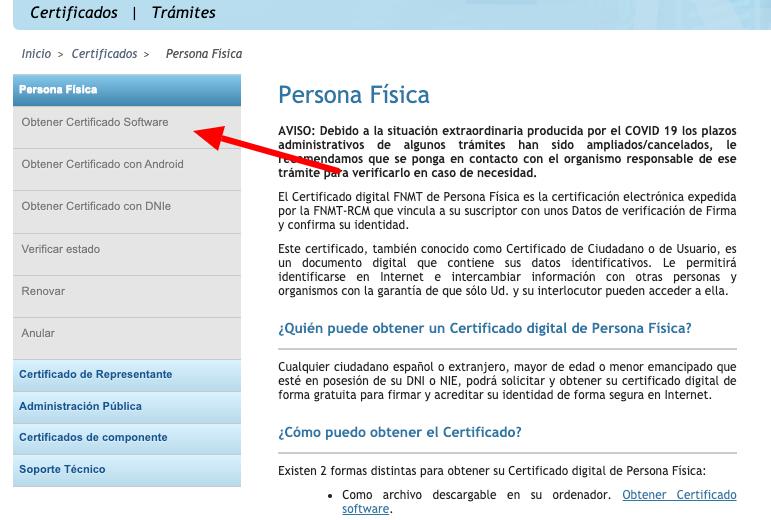 solicitar certificado persona física